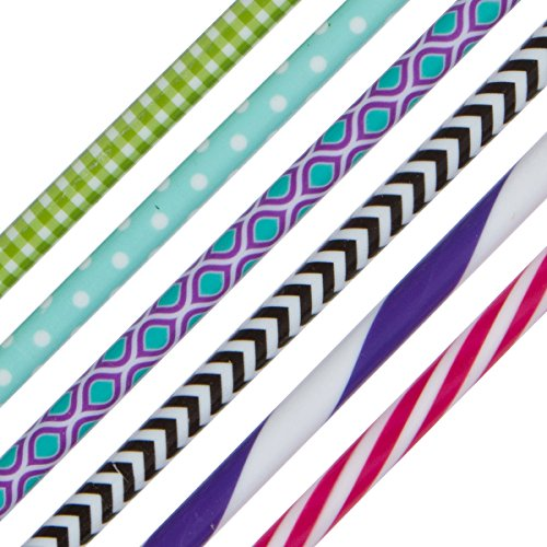 UPC 736902445594, Reusable Straws from Kuhli - 6 Pack Mixed Designs, Hard Plastic - No BPA, Fun Colors & Designs...