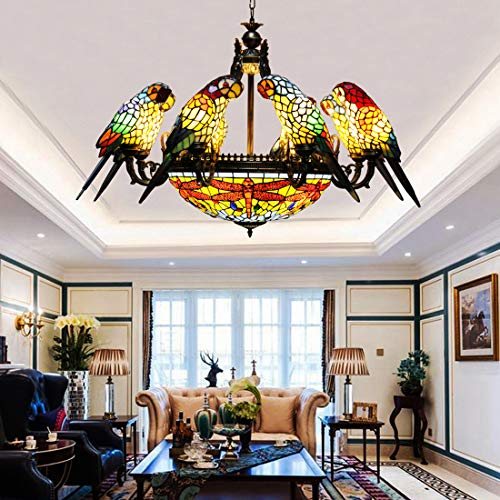 Makenier Tiffany Style Stained Glass Baroque Vintage 20 inches Dragonfly + 8 Arms Parrot Big Chandelier ()