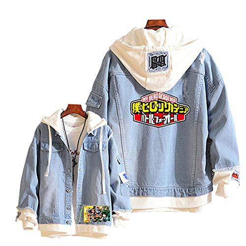 Boku No Hero Academia My Hero Academia Denim Jacket Graphic Hoodie Cosplay Unisex Anime Expo(9,L) (Anime Jeans Men)