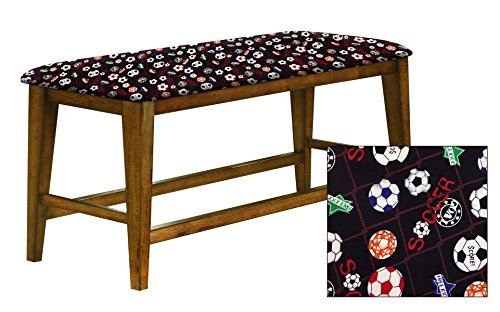"Counter Height 25"" Tall Universal Bench in an Oak Finish Featuring a Padded Seat Cushion With Your Favorite Novelty Themed Fabric (Soccer) by The Furniture Cove"