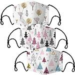O-Mundschutz-Maske-mit-Winter-Motiv-3-Stoff-Masken-mit-Filter-Winterdesign-Tannenbaum-bunt-lustig-komisch-fr-Mnner-Frauen-Waschbar-Wiederverwendbar
