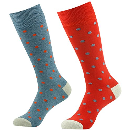 Vive Bears Mens Womens 2 Pairs Custom Elite Premium Cotton Blend Stretchy Fit Grey Red Poka Dots Design Fancy Cool Casual Novelty Gift (Fancy Dress Boots)
