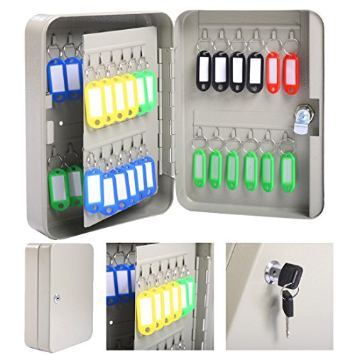 [48 Hook Key holder Box Metal Safe w/Tag Case Cabinet Wall Mount Home Lock Storage Gray] (Halloween Costumes Rentals Dallas)