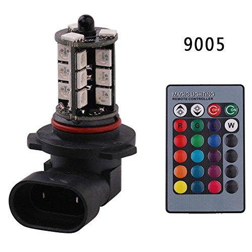 Screens Fog Light (Enjoydeal 2PCS Car Headlight Bulb,9005 12V 27LEDs 5050SMD 16 Color Modes RGB Car Fog Light Lamp Bulb Set with Remote Control)