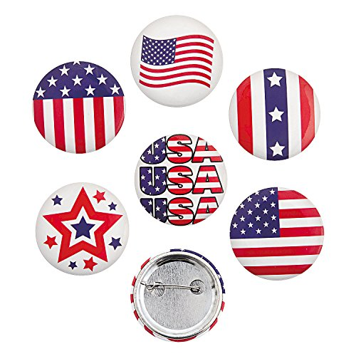 Metal Patriotic (Patriotic Metal Buttons Red White Blue Americana USA - 24 pieces)