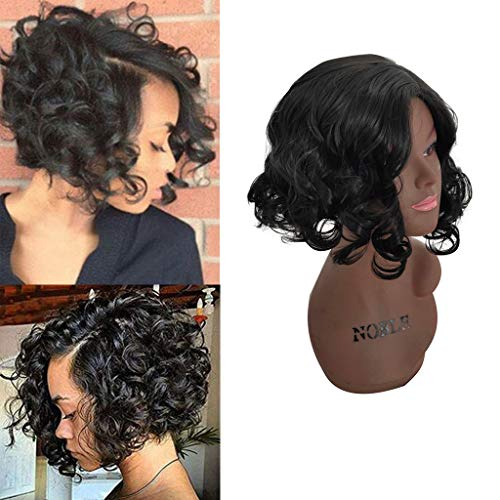 BB67 Fashion Women Brazilian Short Straight Bobo Wig Front Hair Side-parted Wigs For Women Cosplay Hair Replacement ()