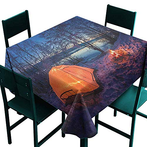 Warm Family Forest Waterproof Tablecloth Dark Night Camping Tent Photo in The Winter on The Snow Covered Lands by The Lake Great for Buffet Table W60 x L60 Blue Orange