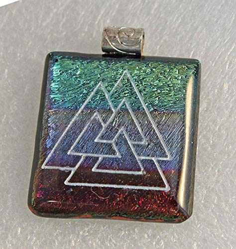 (Jewels of Fire Dichroic Glass Pendant in Shades of Blue, Green and Purple with Woven Triangle Design)