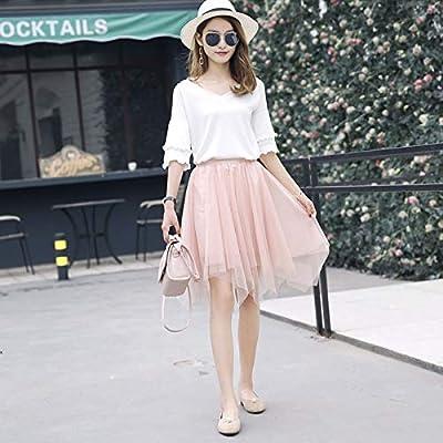 GDNTCJKY Faldas Para Mujer Falda Asimétrica De Encaje Sólido De ...