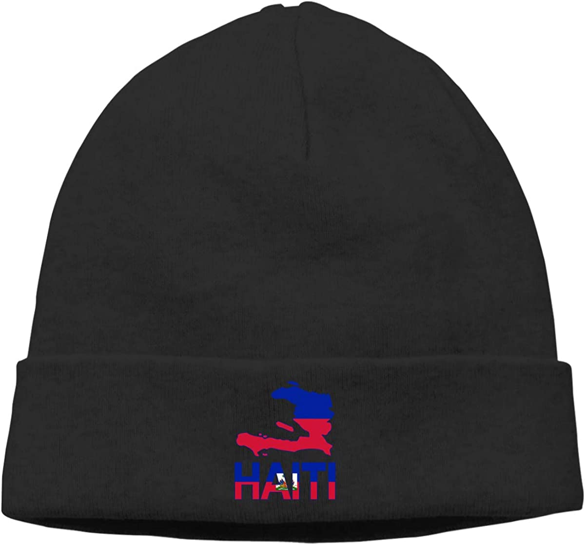 Haiti Map Flag and Text Unisex Solid Color Beanie Hat Thin Stretchy /& Soft Winter Cap
