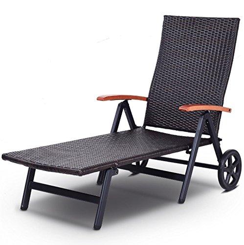 (Brown 7 Adjustable Position Outdoor Foldable Chaise Lounge 2 Wheels Rattan Lounger Recliner Chair Folding Back Design Patio Garden Backyard Beach Pool Side Furniture Décor Heavy-Duty Aluminum Frame)