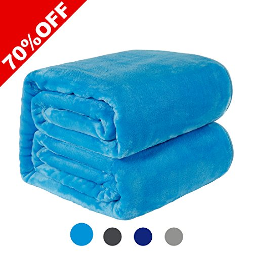 WarmHarbor330 GSM Fleece Blanket Super Soft Warm Fuzzy Lightweight Couch For Bed/Sofa Blanket (King(90x108 Inch), Lake blue)