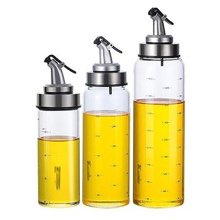 RANRANJJ Paquete de 3 Botellas de Vidrio for vinagreras de Aceite ...