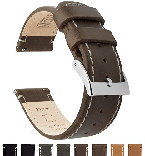BARTON Quick Release Top Grain Leather Watch Band Strap - Choose Color & Width (18mm, 20mm or 22mm) - Saddle/Linen 22mm