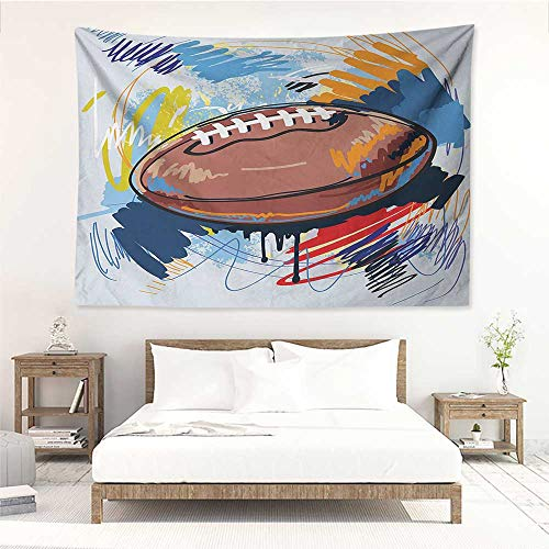 alisos Sports,Tapestry Wall Hanging Diamond Shape Rugby Ball Sketch with Colorful Doodles Professional Equipment League 93W x 70L Inch Apartment Decor Collection Multicolor ()