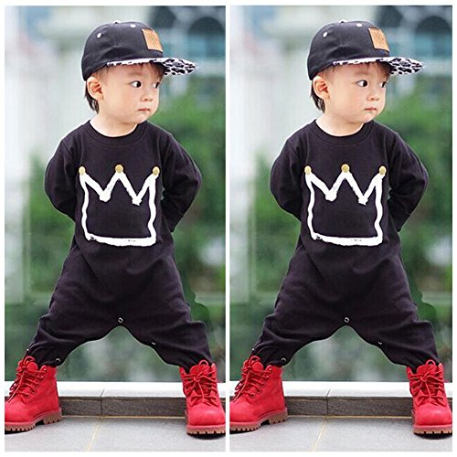 2016 Newborn Toddler Baby Girls Boys Crown Romper Jumpsuit Playsuit Outfits Clothes , Black, 0-6 Months