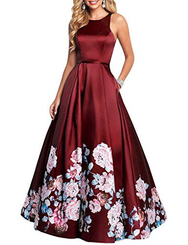 - YSMei Women's Vintage Floral Printed Prom Party Gown Long Evening Dress A line Open Back Burgundy 22W