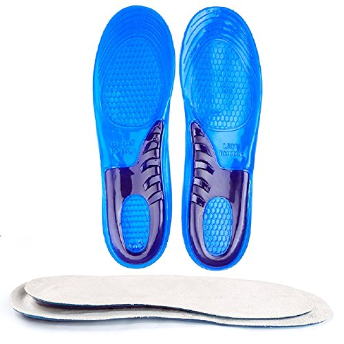 Gel Insoles,Sports Gel Insoles,Shoe Inserts arch support for Running,Hiking, Walking Best Full Length Insoles for Men & Women,Absorb Shock, SIZE 4-12,L