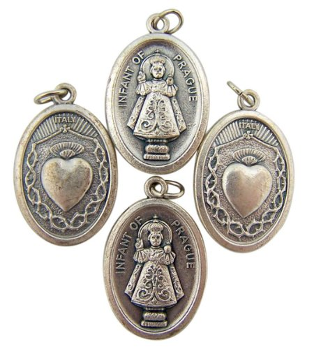 Lot of 4 Infant of Prague with Sacred Heart 1-inch Silver Tone Two Sided Medal
