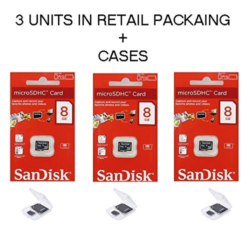 Lot of 3 Sandisk 8GB MicroSD SDHC Class 4 TF Memory Flash Ca