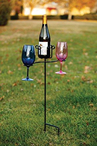 Picnic Plus Wrought Iron Wine Glass & Bottle Ground Stake Garden Stake 30