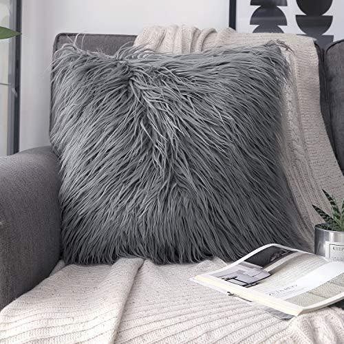 (Phantoscope Decorative New Luxury Series Merino Style Grey Fur Throw Pillow Case Cushion Cover 18
