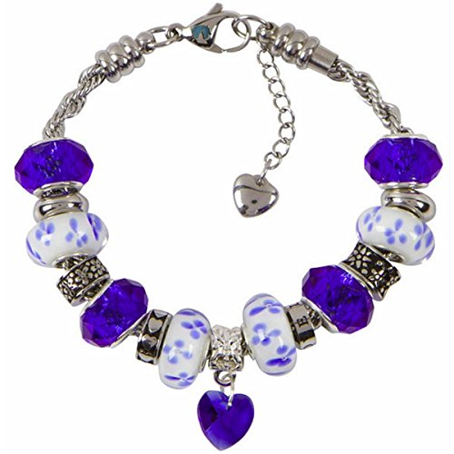 Heart Charm Bracelet With European Bead Charms For Women and Girls, Stainless Steel Rope Chain, Power 7.5 (Heart Cut Murano Glass)