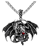 Xusamss Hip Hop Titanium Steel Dragon Pendant Wings Skull Pendant Crystal Chain Necklaces