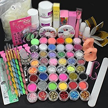 ReNext  28 in1 Combo Set Professional Acrylic Liquid Nail Art Brush Pen Glue Glitter Strip Shimmering Powder Hexagon Slice Toe Finger Separator Buffer Block Deco Tips Tool Kit by ReNext