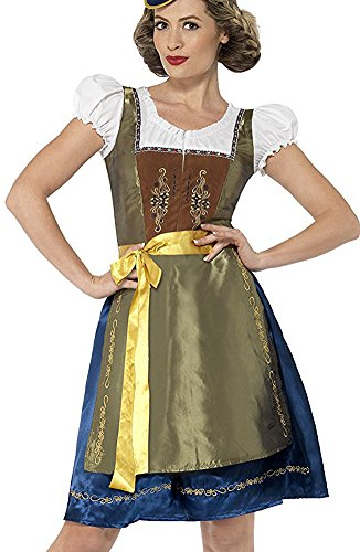 Around The World Costumes For Women (Smiffy's Women's Traditional Deluxe Bavarian Costume, with Dress and Apron, Around the World, Serious Fun, Size 10-12, 44446)