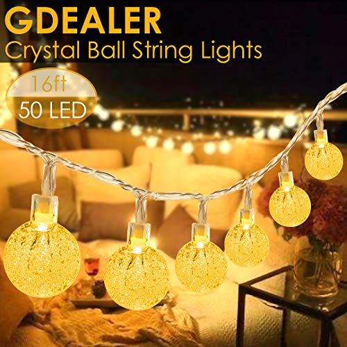 - Gdealer 16 FT 50 LED Globe String Lights Clearer Brighter Crystal Ball Fairy String Lights Plug in with Remote Twinkle Lights Decor for Indoor Outdoor Home Party Wedding Christmas Garden Warm White