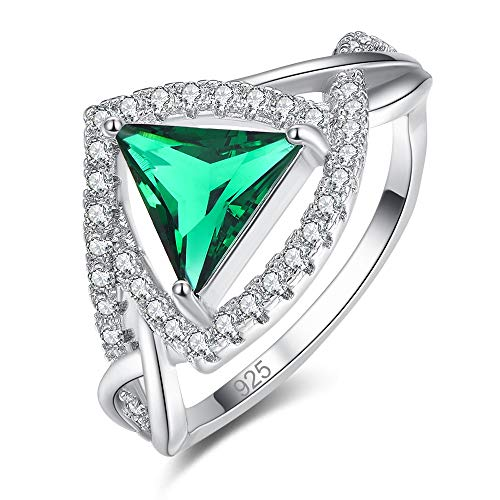 - Mavonne 925 Sterling Silver Created Emerald Quartz Filled Trillion Cut Infinity Band Halo Engagement Ring for Women 0200R17-9 (Color : Green, Size : 6)