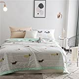 """KFZ Cotton Comforter for Bed Set No Pillow Covers WN Twin Full Queen Princess Comforter Dog Fox Flamingo Penguin Design for Kids Girls One Piece (Cute Dog, Pink, Twin 59""""x79"""")"""