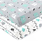 Stretchy Fitted Crib Sheets Set-Brolex 2 Pack Portable Crib Mattress Topper for Baby Boys Girls,Ultra Soft Jersey,Full Standard,Elephant & Whale: more info