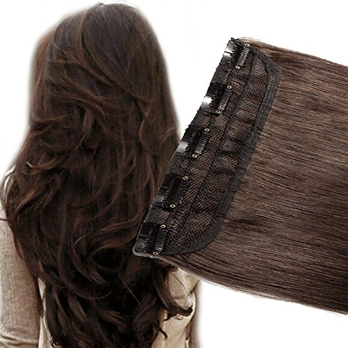 Extensions Piece 2 Human Hair - 3/4 Full Head Clip in Human Hair Extension Real Remy Hair Natural Soft 1 piece 5 Clips 18''Long 50g Dark Brown #2