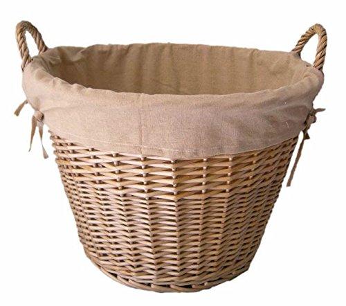 Antique Wash Finish Lined Log Basket