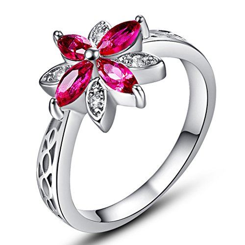 (Veunora 925 Sterling Silver Created Marquise Cut Ruby Spinel Filled Dainty Flower Ring for Women Size 9)