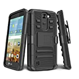 LG K7 Case, LG Tribute 5 Case, TILL [Holster Clip] [Black] Shock Absorbing Locking Belt Clip Rugged Defender Dual Layer Heavy Combo Kickstand Case Cover Shell For LG Tribute 5 / K7 All Carriers