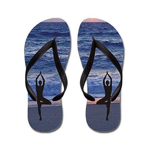 Cafepress Beach Yoga - Flip Flops, Roliga Rem Sandaler, Strand Sandaler Svart