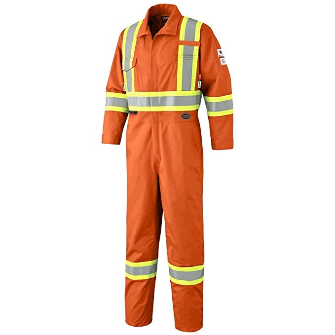 44 V254035T-44 Orange Pioneer CSA UL ARC 2 Lightweight Flame Resistant Work Coverall Tall Fit Hi Vis Premium Cotton Nylon Action Back