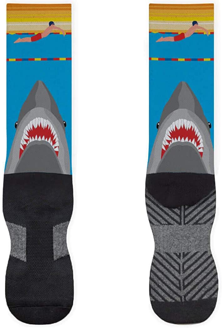 Shark Attack (Guy Swimmer) Printed Mid Calf Socks | Swimming Socks by ChalkTalkSPORTS | Multiple Sizes