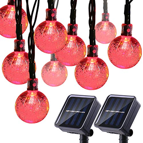 Joomer 2 Pack Solar Christmas Lights, 20ft 30 LED Globe Solar String Lights,Waterproof 8 Modes Crystal Ball Fairy String Lights for Patio, Lawn, Garden, Wedding, Party, Christmas Decorations (Red)