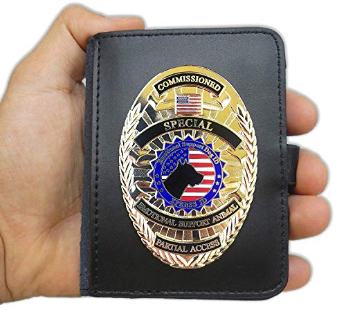 Xpress ID Emotional Support Dog Badge & Leather Wallet | Includes Registration to National Dog Registry (Dog Leash Wallet)
