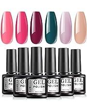 TOMICCA Gel Nail Polish Set 6 Colour Collection, Soak Off UV LED