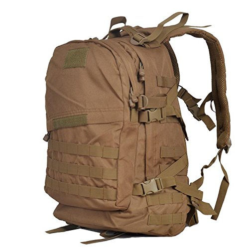 YYY-Un nuevo día del montañismo bolso hombres y mujeres bolso mochila 3D militares fans paquete capacidad 45L , black wolf brown