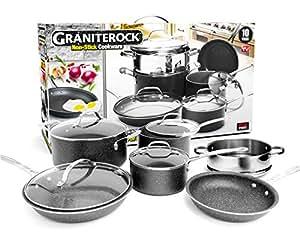 graniterock 10 piece cookware set scratch proof nonstick granite coated pfoa free. Black Bedroom Furniture Sets. Home Design Ideas