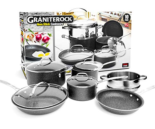 Graniterock 10 Piece Cookware Set Scratch Proof Nonstick