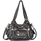 Handbag Hobo Women Bag Roomy Multiple Pockets Street ladies' Shoulder Bag Fashion PU Tote Bag (XS161496 Black)