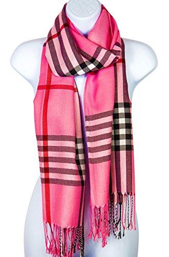 Pashmina Silk Scarf Plaid Checker Pattern Long Soft Shawl Wrap Cape (Pink)