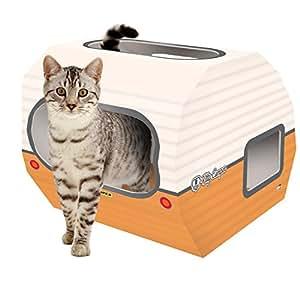 Casa de cartón para gato. La caravana para gatos es el perfecto juguete, castillo y cama para mascotas de interior.